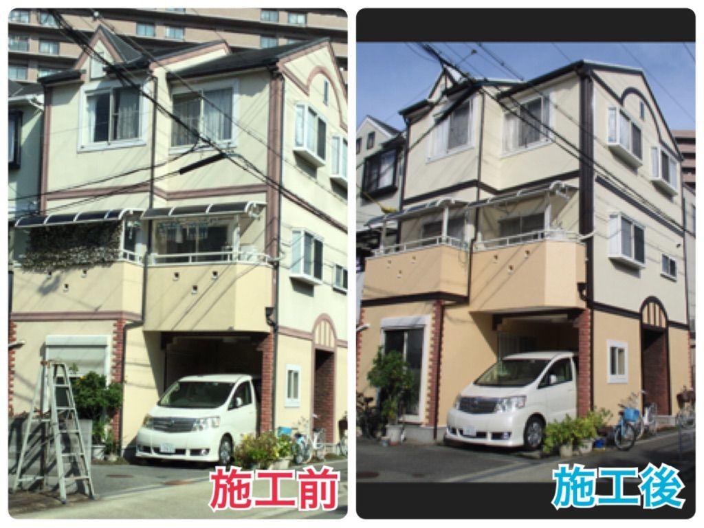 上田邸 西淀川区 外壁 ビフォーアフター