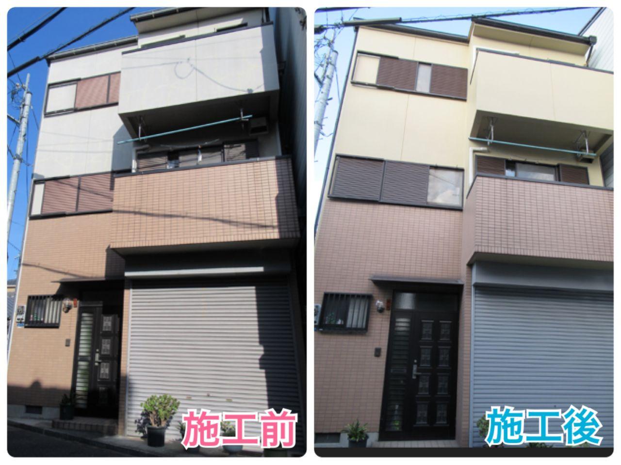 桃坂邸 西成区 外壁 正面 ビフォーアフター