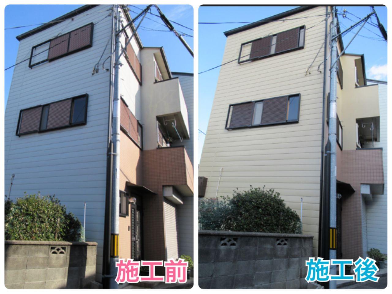 桃坂邸 西成区 外壁 側面 ビフォーアフター